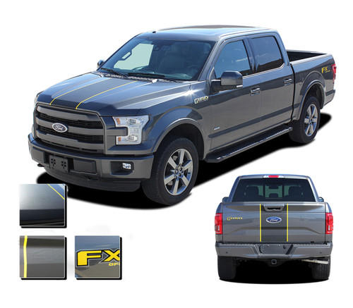 F-150 BORDERLINE : Ford F-150 Center Racing Stripes Vinyl Graphics and Decals Kit for 2015, 2016, 2017, 2018, 2019, 2020 Models (M-PDS3820)