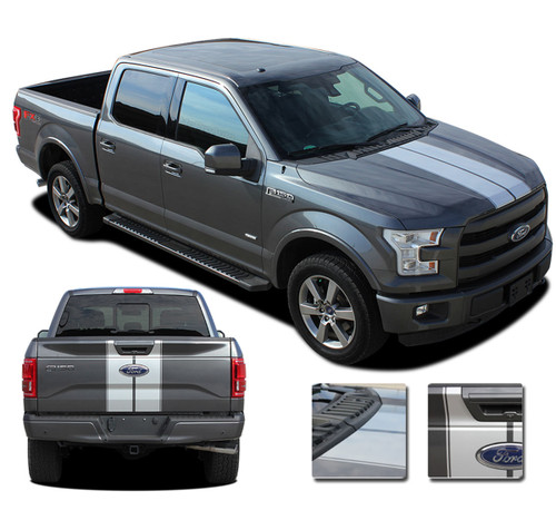 F-150 F-RALLY : Ford F-150 Split Center Racing Stripes Vinyl Graphics and Decals Kit for 2015-2017 2018 2019 Models (M-PDS3822)