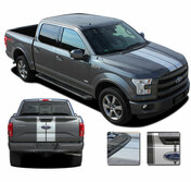 F-150 F-RALLY : Ford F-150 Split Center Racing Stripes Vinyl Graphics and Decals Kit for 2015, 2016, 2017, 2018, 2019, 2020 Models (M-PDS3822)