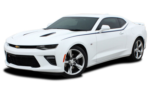 2016 2017 2018 Camaro PIKE : Chevy Camaro Upper Door to Fender Accent Vinyl Graphics Decals Kit (fits SS, RS, V6 MODELS) (M-PDS3961)
