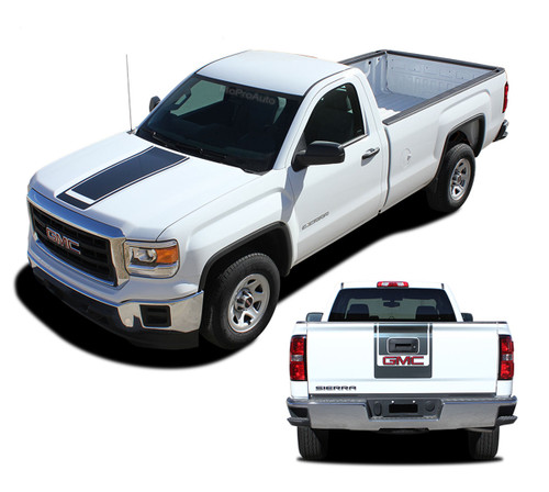 SIERRA MIDWAY : 2014 2015 2016 2017 2018 Center Hood & Tailgate GMC Sierra Vinyl Graphic Decal Racing Stripe Kit (M-PDS4020)