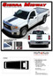 SIERRA MIDWAY : 2014 2015 2016 2017 2018 Center Hood & Tailgate GMC Sierra Vinyl Graphic Decal Racing Stripe Kit - Details