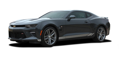 2016 2017 2018 Camaro TREAD ROCKERS : Chevy Camaro Lower Rocker Panel Door Stripes Vinyl Graphics and Decals Kit (fits ALL MODELS) (M-PDS-4058)