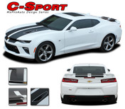 """2016 Camaro C-SPORT : Chevy Camaro """"OEM Factory Style"""" Vinyl Graphics Racing Stripes Rally Decals Kit (fits SS, RS, V6 MODELS)"""