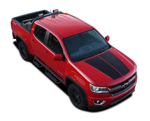 SUMMIT : 2015 2016 2017 2018 2019 2020 2021 Chevy Colorado Hood Dual Racing Stripe Package Vinyl Graphic Decal Kit (M-PDS-4150)