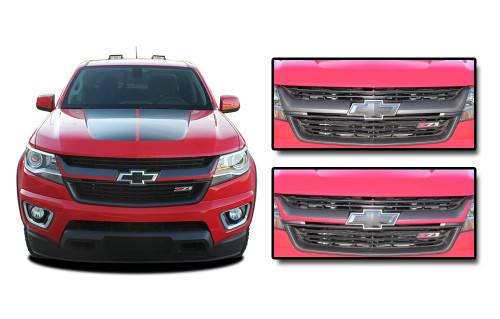 CRESTONE : 2015 2016 2017 2018 2019 Chevy Colorado Front Grill Accent Vinyl Graphic Package Decal Stripe Kit (M-PDS-4159)