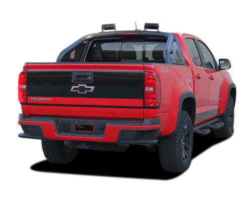 GRAND : 2015, 2016, 2017, 2018, 2019, 2020 Chevy Colorado Rear Tailgate Blackout Accent Vinyl Graphic Package Decal Stripe Kit (M-PDS-4151)