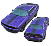 Challenger FINISH LINE 2 : Center Wide Rallye Redline Style Vinyl Racing Stripes Hood Decal Graphics Kit fits 2015, 2016, 2017, 2018, 2019, 2020, 2021 Dodge Challenger (M-PDS4241)