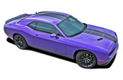 Challenger PULSE RALLY : Strobe Style Hood to Trunk Vinyl Graphic Racing Rally Stripes for 2008, 2009, 2010, 2011, 2012, 2013, 2014, 2015, 2016, 2017, 2018, 2019, 2020 Dodge Challenger (M-PDS4250)