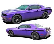Challenger ROADLINE : Wide Upper Door Vinyl Graphics Side Stripes Accent Decals for 2008, 2009, 2010, 2011, 2012, 2013, 2014, 2015, 2016, 2017, 2018, 2019, 2020, 2021 Dodge Challenger (M-PDS4248)