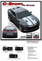 """2016 Camaro C-SPORT PIN : Chevy Camaro """"OEM Factory Style"""" Vinyl Graphics Racing Stripes with Pin Outline Rally Decals Kit (fits SS, RS, V6 MODELS) - DETAILS"""