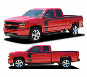 "FLOW : 2016 2017 2018 Chevy Silverado ""Special Edition Rally Style"" Hood and Side Upper Body Hockey Accent Vinyl Graphic Decal Stripe Kit (PDS-4407)"