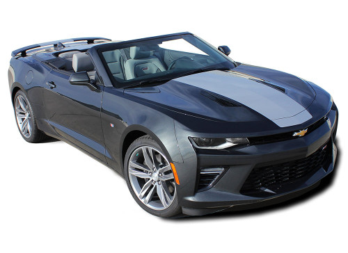 2016 2017 2018 Camaro OVERDRIVE CONVERTIBLE : Chevy Camaro Center Wide Hood Racing Stripes Rally Vinyl Graphics and Decals Kit (fits SS, RS, V6 MODELS) (M-PDS-4640)