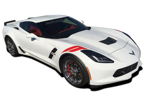C7 HASH : 2014 2015 2016 2017 2018 2019 Chevy Corvette C7 Hash Mark Hood to Fender Vinyl Graphic Decal Stripes (M-PDS4672)