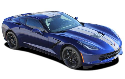C7 RALLY : 2014 - 2019 Chevy Corvette C7 Racing Stripe Rally Hood Vinyl Graphic Decal Stripes (M-PDS4670)