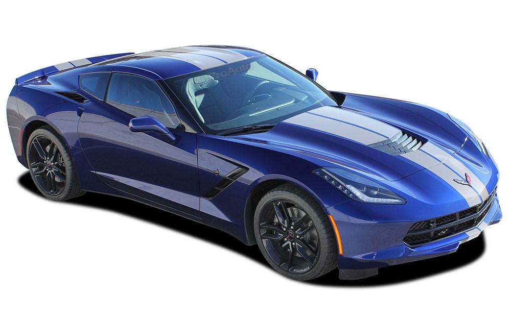 2014-2019 Chevy Corvette Racing Stripe Dual Hood C7 RALLY Vinyl Graphic Stripes