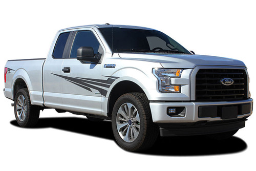 APOLLO : Ford F-150 Side Fender to Door Vinyl Graphic Decal Stripe Kit for 2015 2016 2017 2018 2019 Models (M-PDS-4780)
