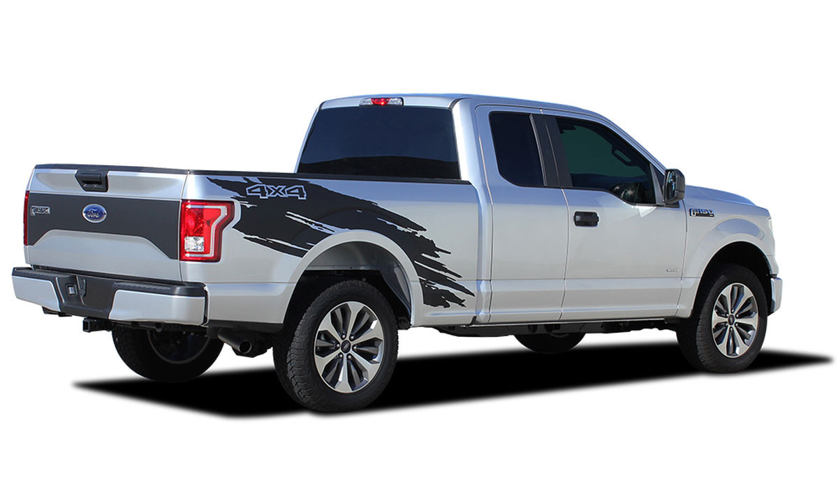 Torn ford f 150 side truck bed 4x4 mudslinger ripped style vinyl graphic stripes and decals kit for 2015 2016 2017 2018 2019 models m pds 4778