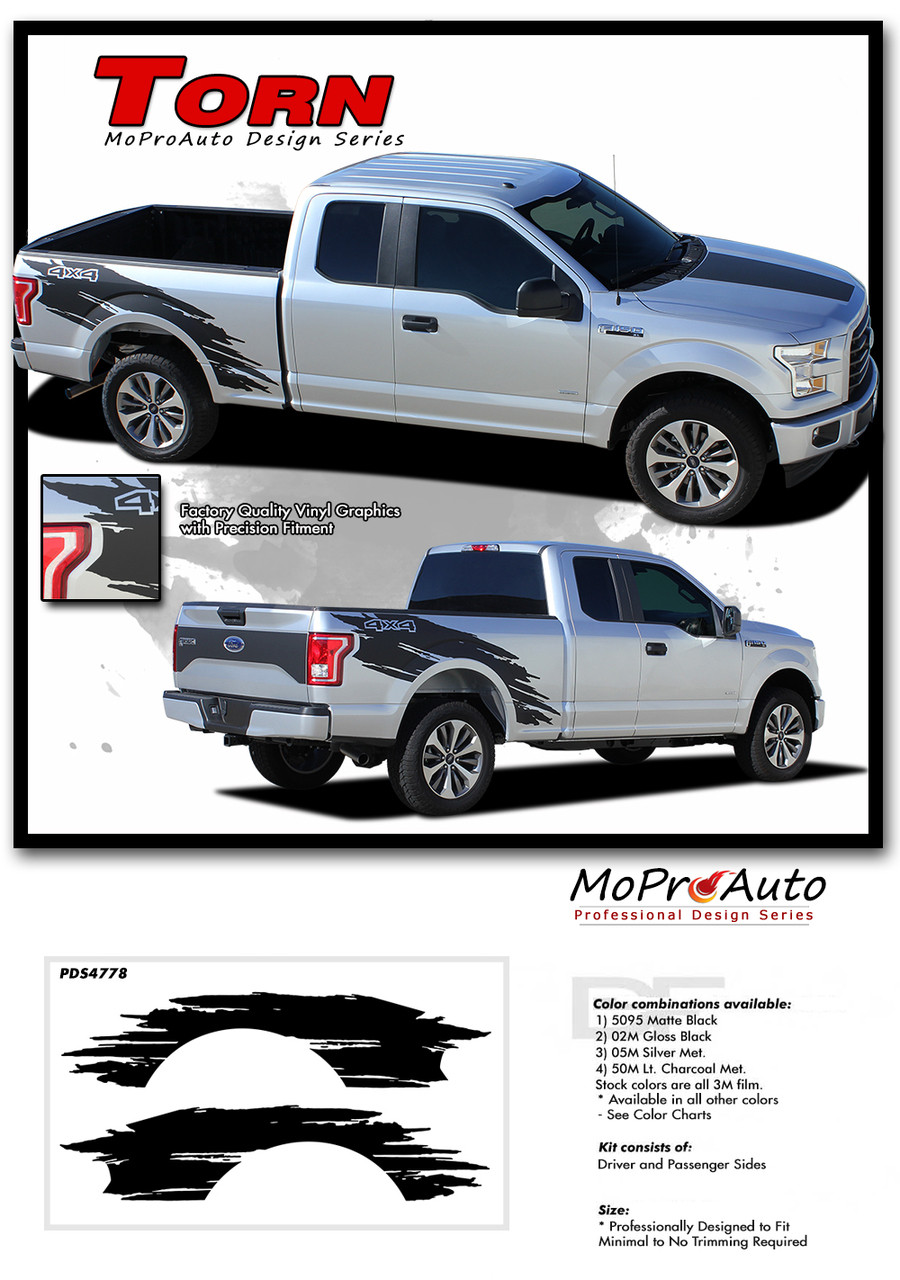 Torn ford f 150 side truck bed 4x4 mudslinger ripped style vinyl graphic stripes