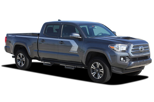 STORM : 2015, 2016, 2017, 2018, 2019, 2020, 2021 Toyota Tacoma TRD Sport Pro Upper Body Hockey Style Side Door Vinyl Graphic Stripes Decal Kit (M-PDS-4830)