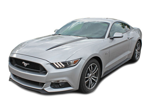2015 2016 2017 FADE SPIKES : Ford Mustang Faded Hood Spear Stripes Vinyl Graphic Ebony Silver Decals (M-PDS4744-45)