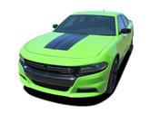 2015 2016 2017 2018 2019 SINISTER HOOD : Dodge Charger Daytona Hemi SRT 392 Style Center Hood Vinyl Graphic Decals and Stripe Kit (PDS-4929)
