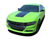 2015, 2016, 2017, 2018, 2019, 2020, 2021 SINISTER HOOD : Dodge Charger Daytona Hemi SRT 392 Style Center Hood Vinyl Graphic Decals and Stripe Kit (PDS-4929)