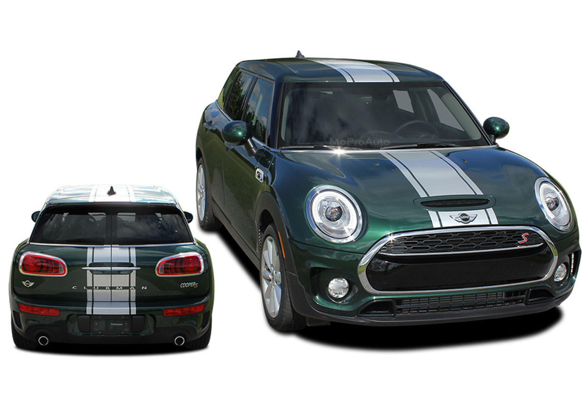 clubman  type rally   mini cooper center hood stripes vinyl graphic decal kit