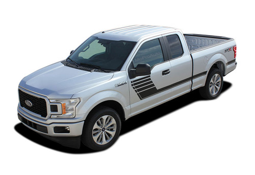 SPEEDWAY : Ford F-150 Stripes Decals Special Edition Lead Foot Style Package Hockey Stripe Vinyl Graphics 2015 2016 2017 2018 2019 (M-PDS-5239)