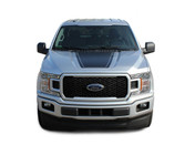 SPEEDWAY HOOD : Ford F-150 Decals Hood Blackout Lead Foot Vinyl Graphic Stripe Kit for 2015 2016 2017 2018 2019 (M-PDS-5240)