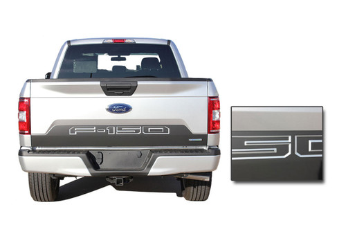 SPEEDWAY TAILGATE : Ford F-150 Decals Rear Blackout Inlays Vinyl Graphic Stripe Kit for new 2018 2019 Models (M-PDS-5248)
