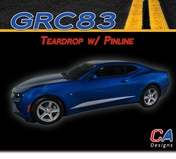 2016-2018 Chevy Camaro Teardrop with Pinline Stripes Side Door Rocker Vinyl Graphic Decal Kit (M-GRC83)