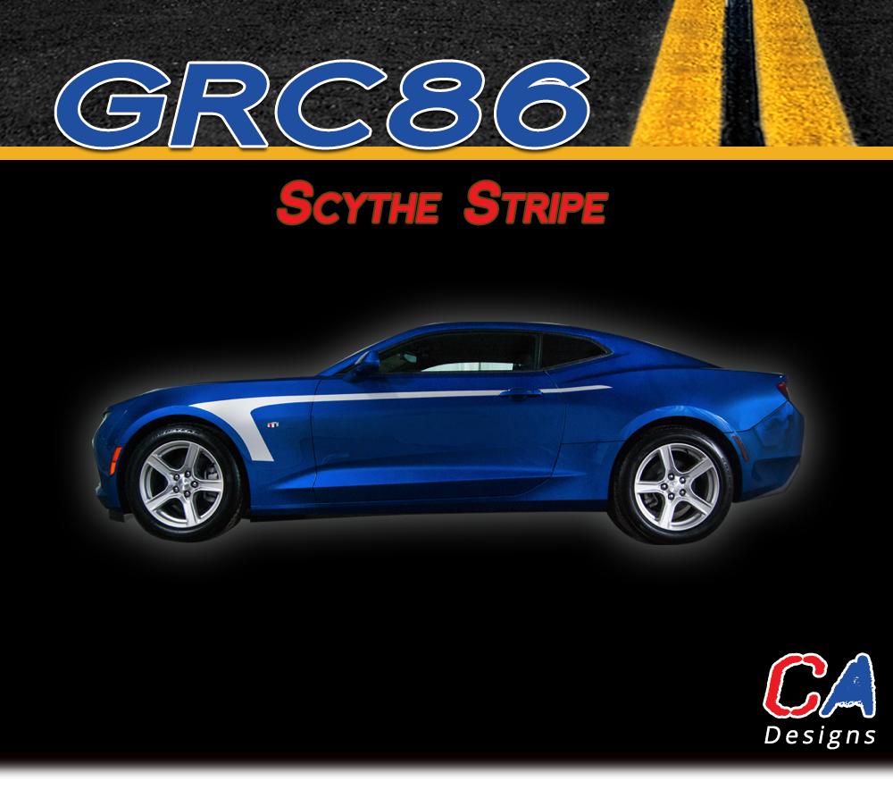 eaa17383dbf360 2016-2018 Chevy Camaro Scythe Stripe Side Door Rocker Vinyl Graphic Decal  Kit (M-GRC86)