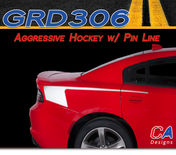 2015-2018 Dodge Charger Stripes Decals Aggressive Hockey with Pin Line Stripe Quarter Panel Accent Vinyl Graphic Kit (M-GRD306)