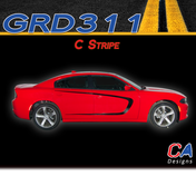 2015-2018 Dodge Charger Stripes Decals C Body Line Door Accent Vinyl Graphic Kit (M-GRD311)