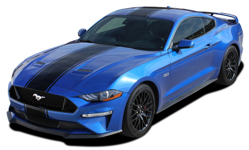 HYPER RALLY : 2018 2019 Ford Mustang Racing Stripes Center Wide Rally Decals Vinyl Graphics Kit (M-PDS-5434)
