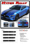 HYPER RALLY : 2018 2019 Ford Mustang Racing Stripes Center Wide Rally Decals Vinyl Graphics Kit - Details