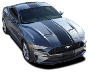 EURO XL RALLY : 2018 2019 Ford Mustang Racing Stripes Center Wide Rally Decals Vinyl Graphics Kit (M-PDS-5444)