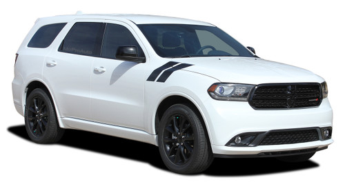 DURANGO DOUBLE BAR : 2011-2021 Dodge Durango Hood Hash Marks Stripes Decals Vinyl Graphics Kit (M-PDS-5543)