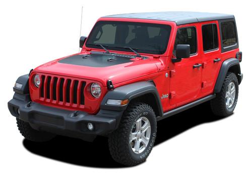 JEEP SPORT HOOD : Jeep Wrangler Hood Vinyl Graphics Decal Stripe Kit for 2018 2019 2020 2021 Models (M-PDS-5564)