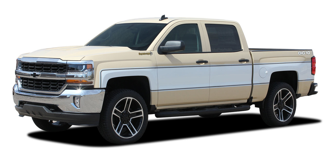 CHEYENNE RETRO : 2014-2018 Chevy Silverado Mid-Body Wrap Accent Graphic  Side BIG 10 Vinyl Stripe Decal Kit