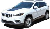T-HAWK 18 : Jeep Cherokee Trailhawk Hood Decal Stripe Vinyl Graphic Kit for 2018 2019 2020 Models (M-PDS-5790)