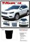 T-HAWK 18 : Jeep Cherokee Trailhawk Hood Decal Stripe Vinyl Graphic Kit for 2018 2019 2020 Models - Details