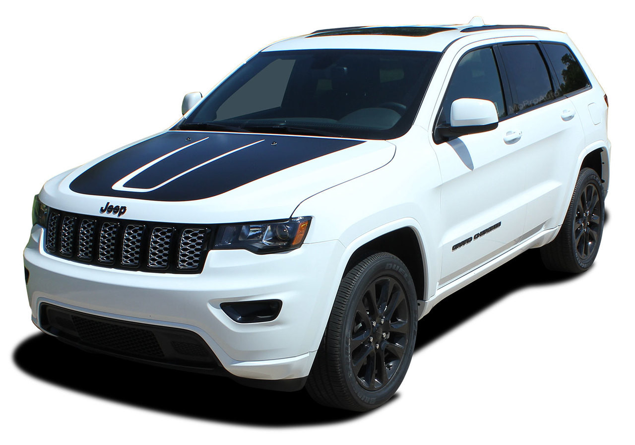 Trail hood jeep grand cherokee trailhawk hood decal stripe vinyl graphic kit for 2011 2019 models