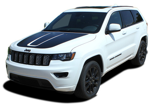 TRAIL HOOD : Jeep Grand Cherokee Trailhawk Hood Decal Stripe Vinyl Graphic Kit for 2011, 2012, 2013, 2014, 2015, 2016, 2017, 2018, 2019, 2020 Models (M-PDS-5830)