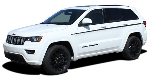 PATHWAY SIDES : Jeep Grand Cherokee Stripes Upper Body Door Decals Vinyl Graphic Kit for 2011-2019 Models (M-PDS-5843)
