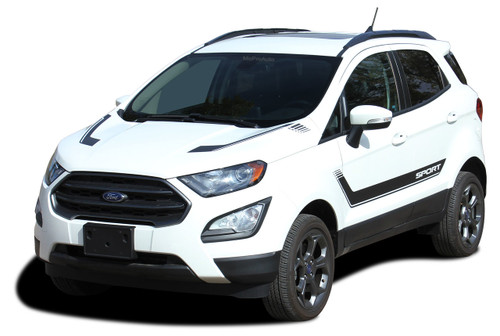 FLYOUT : Ford EcoSport Lower Door Decal and Hood Stripe Vinyl Graphic Kit for 2013-2020 (M-PDS-5950)
