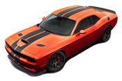 Dodge Challenger Racing Stripes SRT HELLCAT RALLY : Vinyl Graphics Bumper to Bumper Decals fits 2015, 2016, 2017, 2018, 2019, 2020, 2021