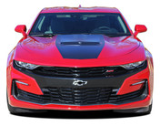 2019 2020 Camaro Hood Decal SHOCK : Chevy Camaro Center Stinger Style Hood Stripe Decals Vinyl Graphics Kit (M-PDS-5986)