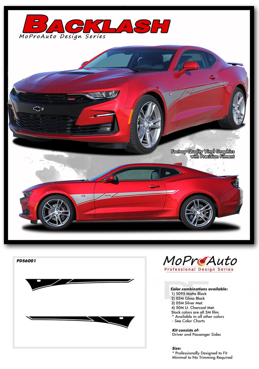 2019 2020 Chevy Camaro Side Body Decals, Camaro Door Stripes SS RS V6 Vinyl Graphics Kit